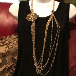 New Chico's Convertible Gold Chain Necklace
